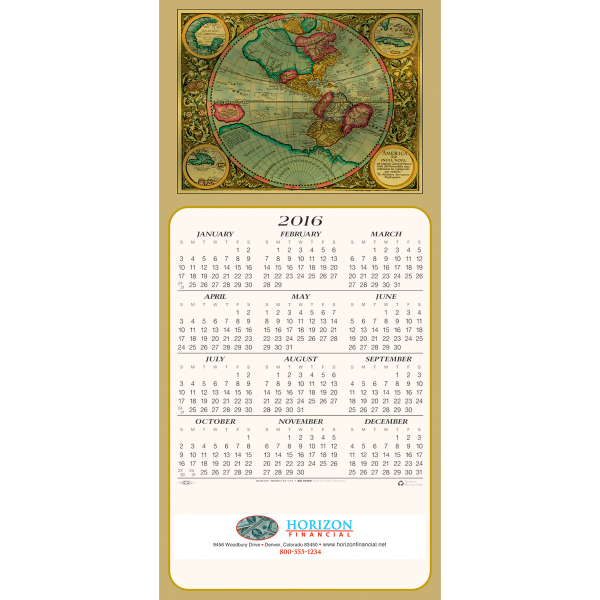 Printed Colorful World calendar greeting card