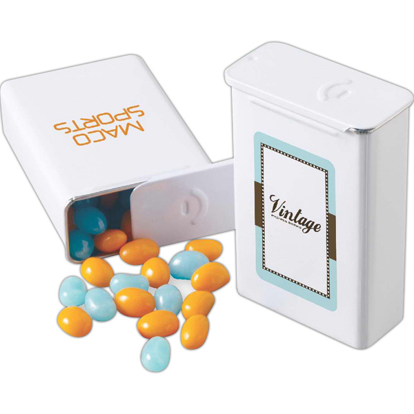 Personalized Slider Tin filled with jelly beans