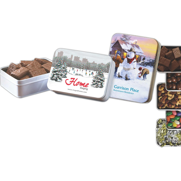 Promotional Keepsake tin filled with non-melt deluxe mixed nuts