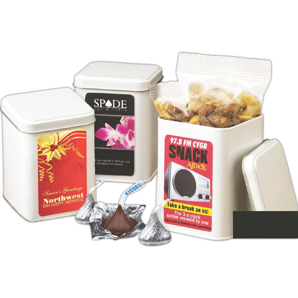 Customized White Imprinted Canister filled with Deluxe Mixed Nuts