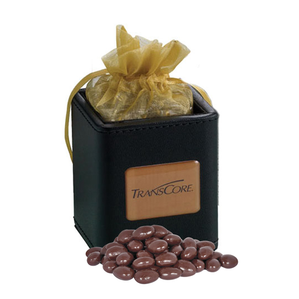 Imprinted X-Cube Pen Holder filled with dark chocolate almonds