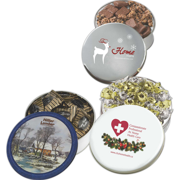 Personalized Glad Tidings Tin filled English Butter Toffee & Clodhoppers