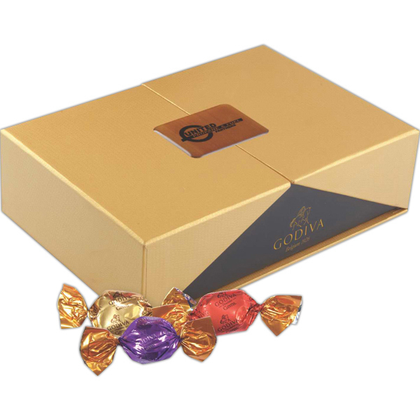 Promotional Label Printed Golden Box of Godiva Chocolate Sweets