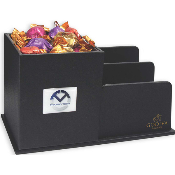 Personalized Leatherette Desk Organizer filled with Godiva Chocolates