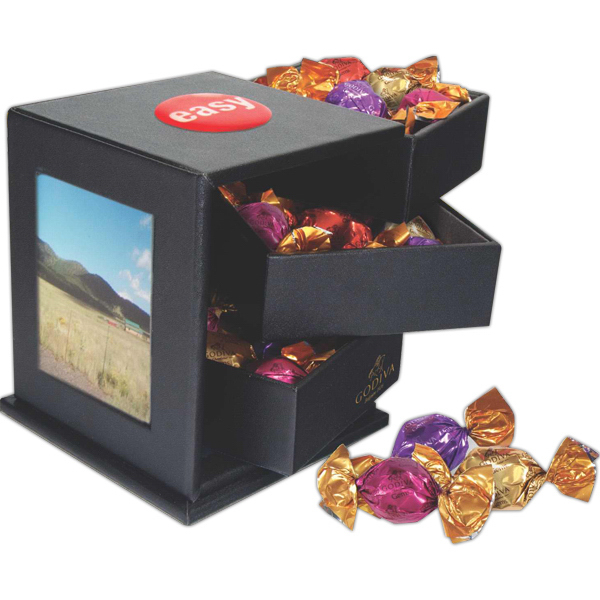 Customized Leatherette Swing Box with Assorted Godiva Chocolate