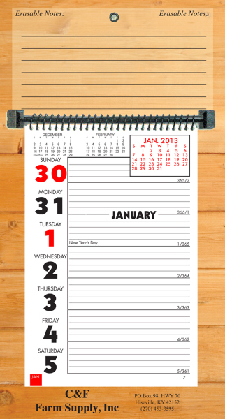 Printed Weekly Memo Erasable calendar