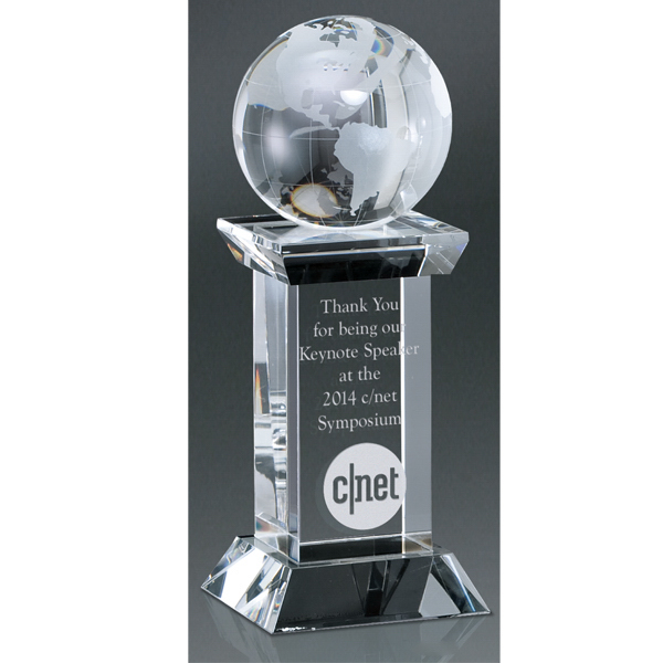 Imprinted Optic Crystal Globe Tower