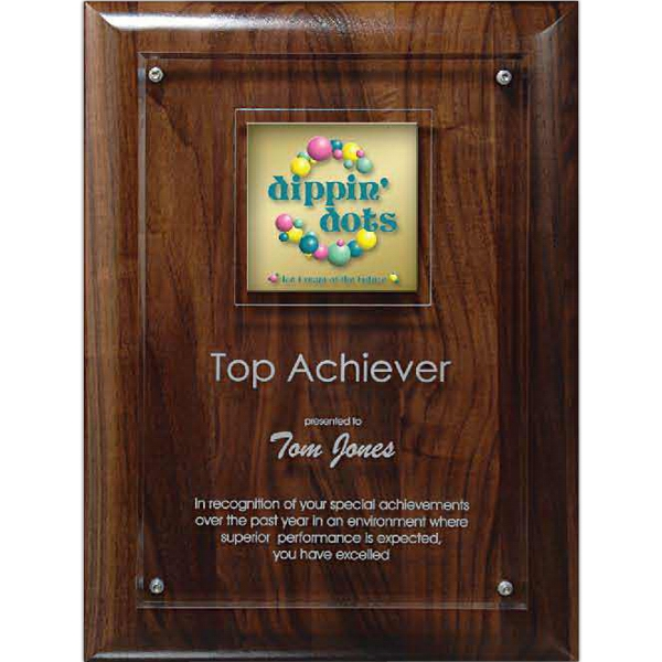 Printed Digi-Color Emblem on Lucite/Genuine Walnut Riser Plaque