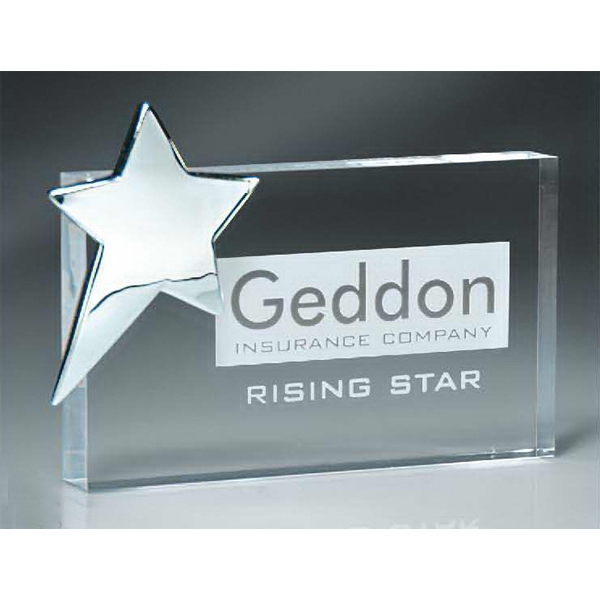 Promotional Lucite Rectangle Block with Silver Star