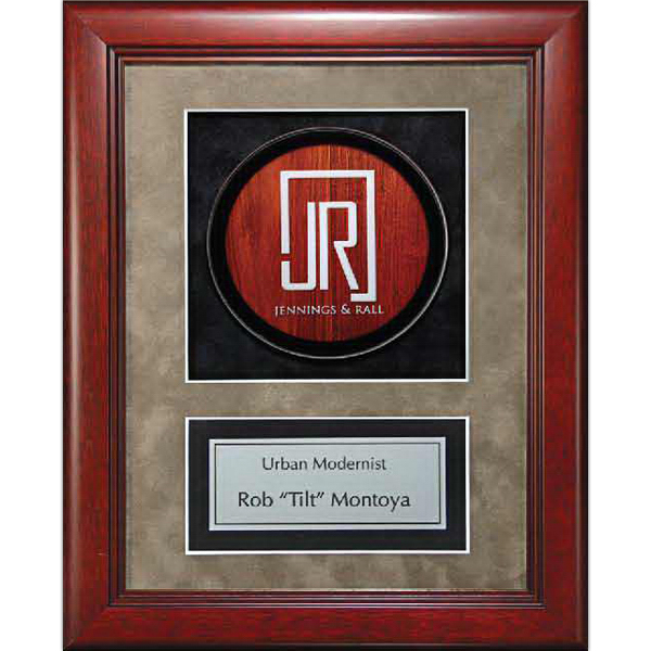 Personalized Cherry Finish Frame with Rosewood Lucite Insert
