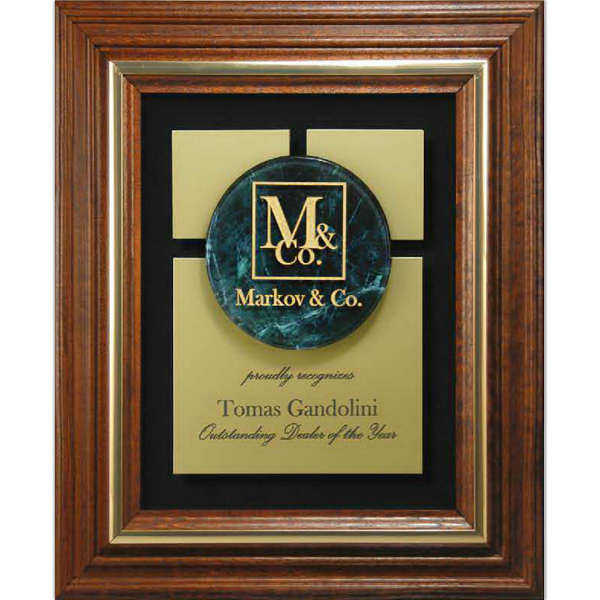 Promotional Genuine Walnut Frame with Marble Lucite Insert