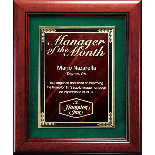 Custom Cherry Finish Frame Plaque