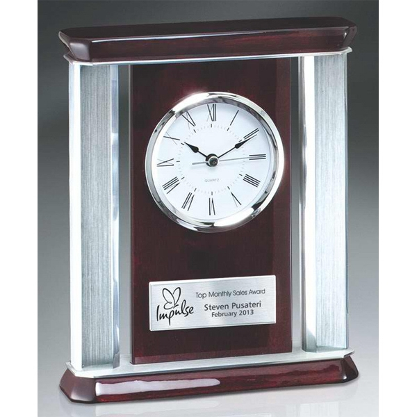 Personalized Rosewood Piano Wood Desk Clock