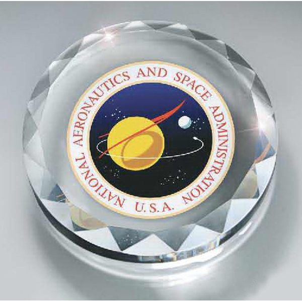 Customized Faceted Optic Crystal Round Paperweight with Digi-color