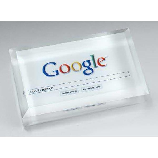 Personalized Optic Crystal Business Card Paperweight with Digi-color