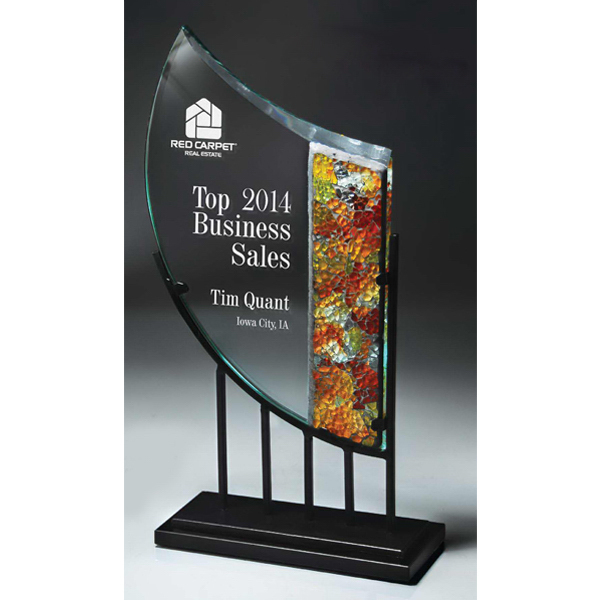 Personalized Iron and Jade Glass Mosaic Award