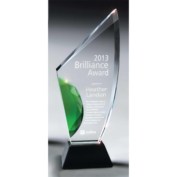 Printed Vibrant Gemstone Award with Choice of Gemstone Color