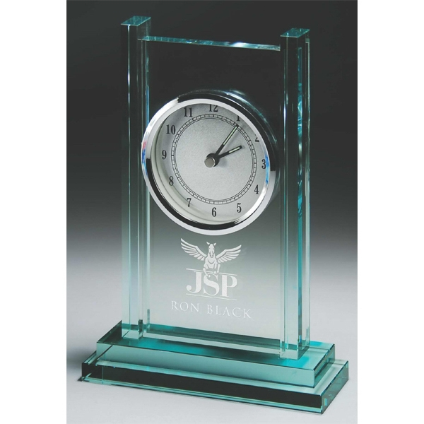 Custom Jade Glass Column Clock
