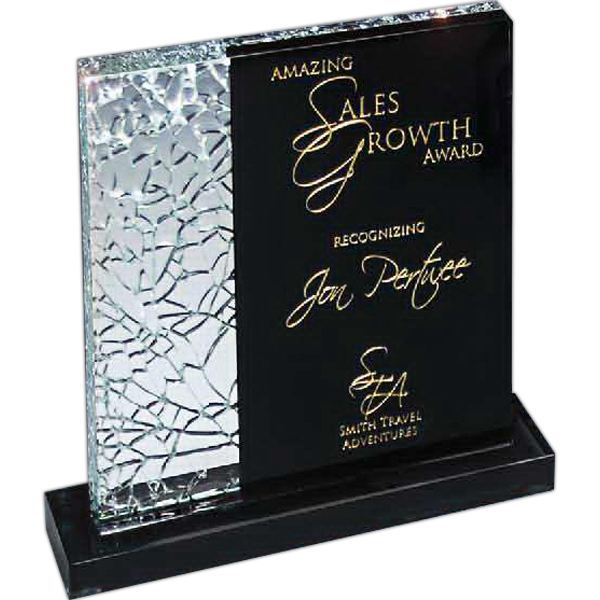 Customized Cracked Glass Award on Black Glass Base