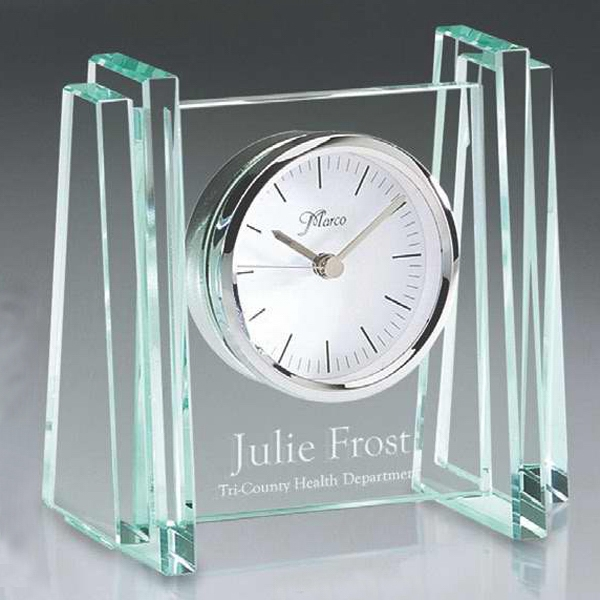 Customized Jade Glass Desk Clock