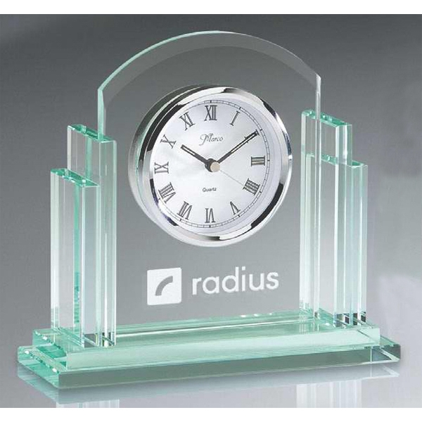 Personalized Jade Glass Rounded Desk Clock