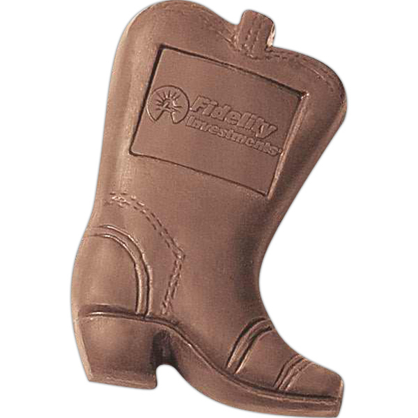 Printed 1 oz Cowboy Boot Shaped Molded Chocolate