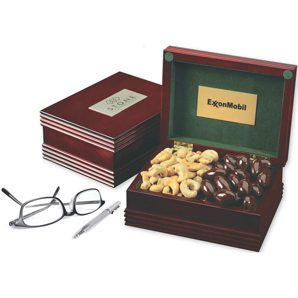 Customized Deluxe Wood Box with Engraved Plate and 2 Confections