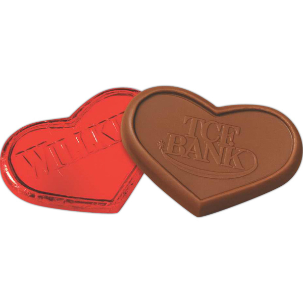 Imprinted Heart Foiled Wrapped Molded Milk Chocolate