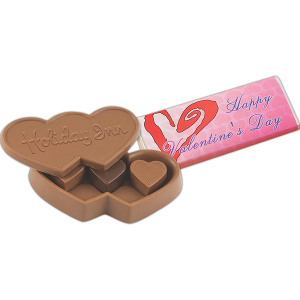 Imprinted Chocolate Candy Heart Box with Heart Truffles
