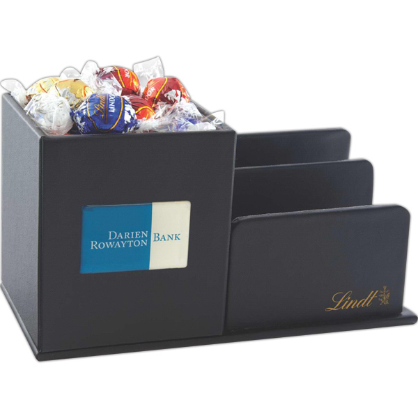Custom Leatherette Desk Organizer with Lindt Chocolate Balls