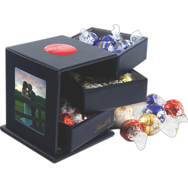 Custom Lindt Chocolate Leatherette Swing Box with Drawers