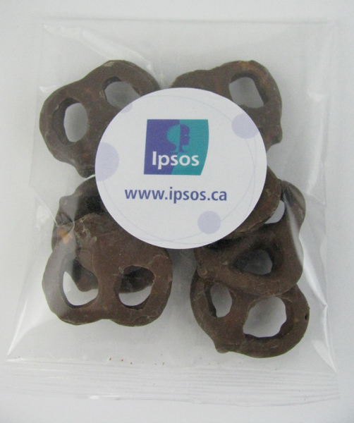 Imprinted Goody Bag with mini chocolate pretzels