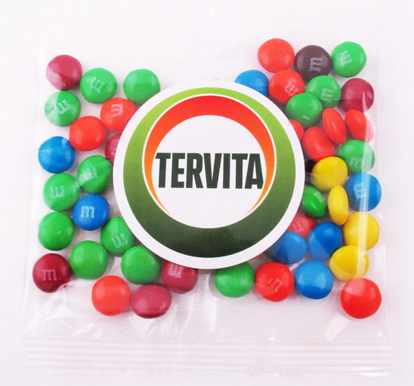 Imprinted Candy coated Chocolate in a label printed Goody Bag