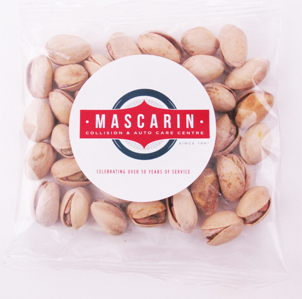 Printed Jumbo Pistachio Nuts in a Label Imprinted Goody Bag Handful