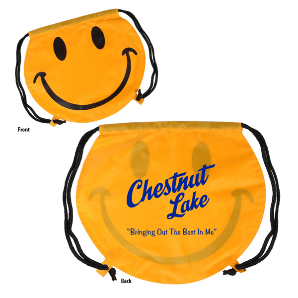 Promotional Smiley Face Drawstring Backpack