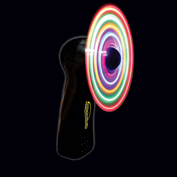 Promotional Black Handheld MultiColor LED Light Up Glow Fan