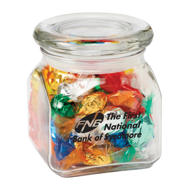 Promotional Contemporary Glass Jar / Foil Wrapped Hard Candy