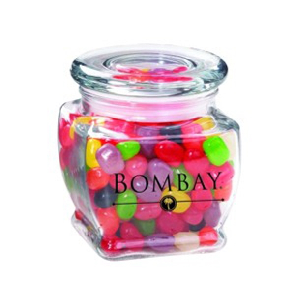 Promotional Footed Square Glass Jar / Jelly Beans Assorted