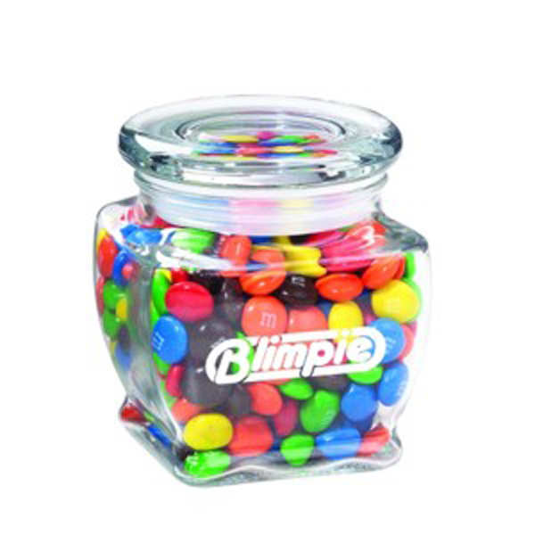 Imprinted Footed Glass Jar / Candy Coated Chocolate