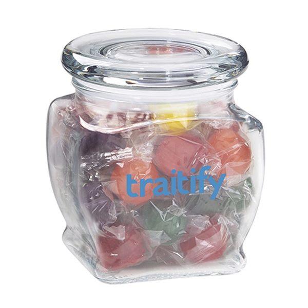 Imprinted Footed Glass Jar / Chocolate Sport Balls