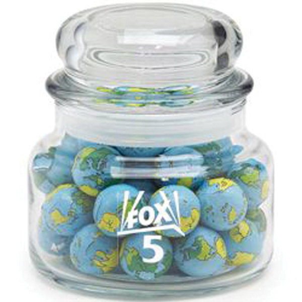 Printed Round Glass Jar / Chocolate Earth Balls