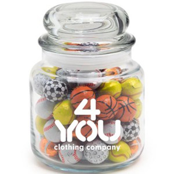 Customized Round Glass Jar / Chocolate Sport Balls