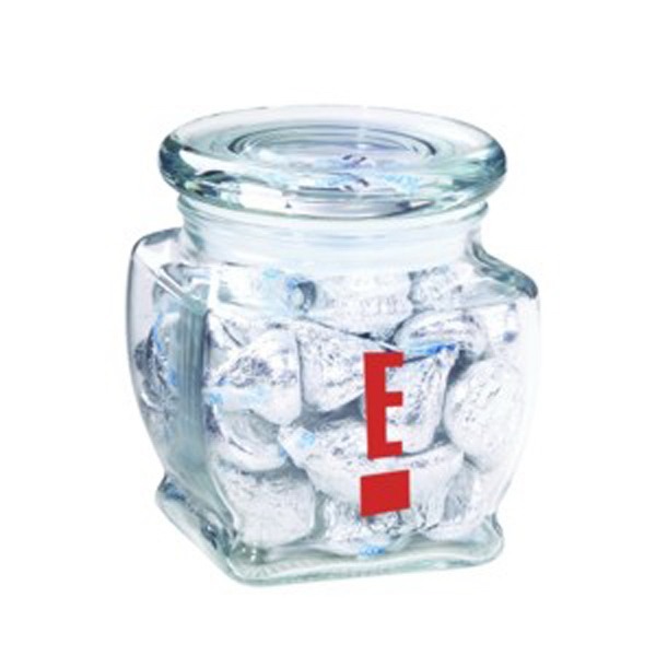 Printed Footed Glass Jar / Hershey's Kisses (R)