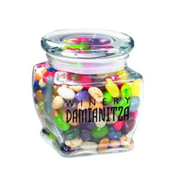 Custom Footed Glass Jar / Jelly Belly (R) Jelly Beans