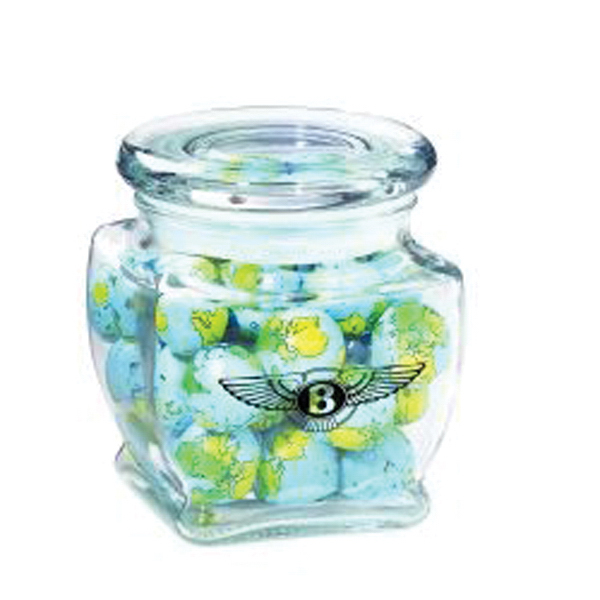 Printed Footed Glass Jar / Chocolate Earth Balls