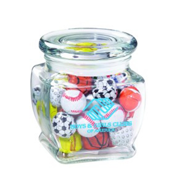 Custom Footed Glass Jar / Chocolate Sport Balls
