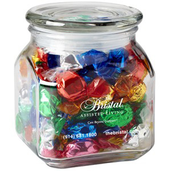 Personalized Contemporary Glass Jar / Foil Wrapped Hard Candy