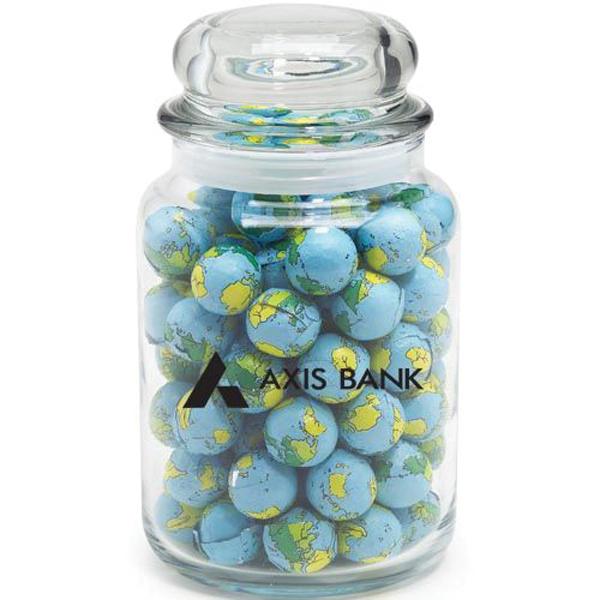 Custom Round Glass Jar / Chocolate Earth Balls