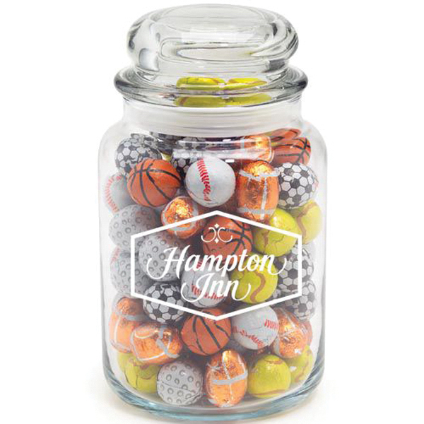 Promotional Round Glass Jar / Chocolate Sport Balls