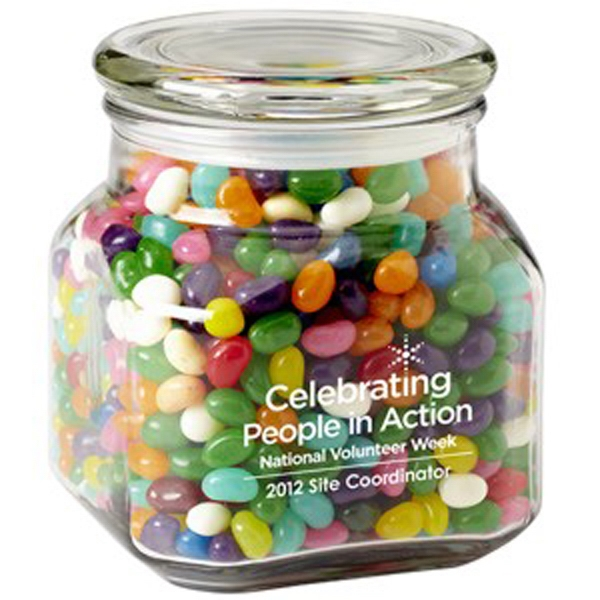 Imprinted Contemporary Glass Jar / Gourmet Jelly Beans